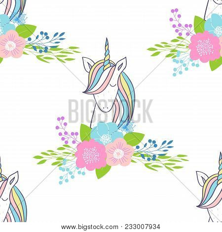 Magic Cute Unicorns With Flowers. Vector Seamless Pattern