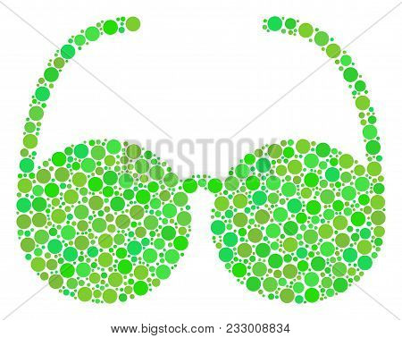 Spectacles Composition Of Dots In Various Sizes And Green Color Tinges. Vector Round Elements Are Un