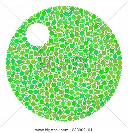 Sphere Mosaic Of Filled Circles In Variable Sizes And Green Color Tinges. Vector Filled Circles Are