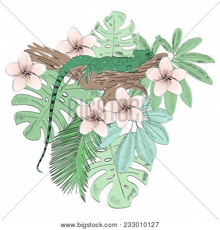 Tropical Vector Illustration With Lizard And Flowers.