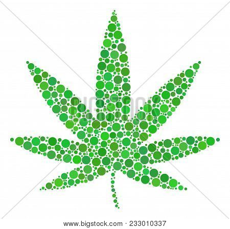 Cannabis Mosaic Of Circle Dots In Variable Sizes And Color Hues. Circle Elements Are Organized Into