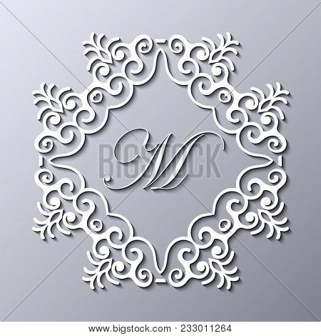 Old Vintage Frame Logo Monogram With Decorative Ornate Vintage Border, Retro Elements. Vector Illust