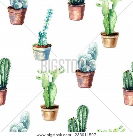Watercolor Hand Drawn Seamless Cactus Pattern Background