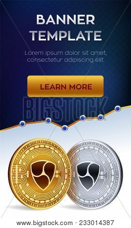 Cryptocurrency Editable Banner Template. Nem. 3d Isometric Physical Bit Coin. Golden And Silver Nem