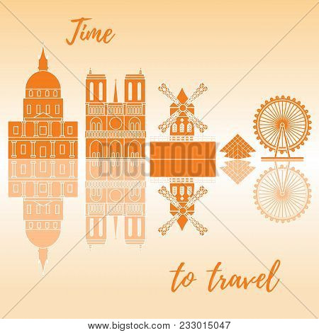 Buildings And Constructions Of Different Countries Of The World. Ferris Wheel, Pyramid, Cabaret, Bui