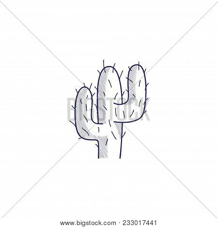 Minimalistic Hand-drawn Icon With A Desert Cactus. Hatched Web Icon. Internet Symbol For Your Websit