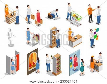 Commercial Consumers During Fitting Of Clothing, Choice Of Products, Payment On Cashier Isometric Pe