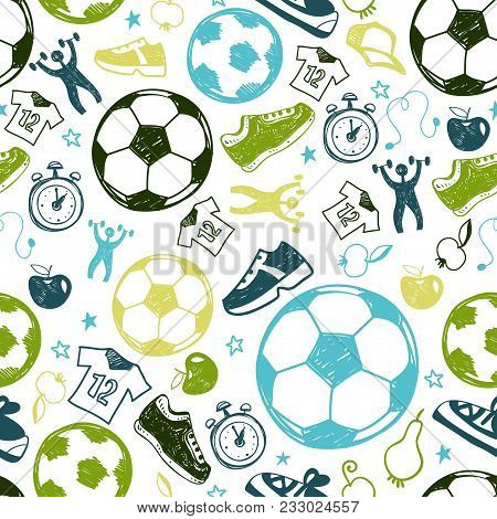Sport Sketch Equipment Soccer Seamless Pattern. Hand Drawn Doodle Icon Football Background Of Recrea