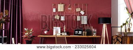 Panorama Of Red Workspace Interior