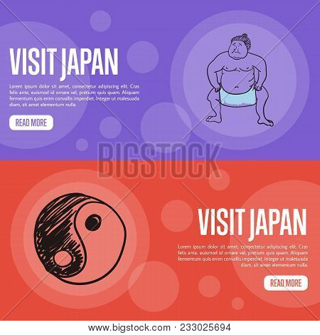 Visit Japan Horizontal Banners. Sumo Wrestler And Yin Yang Symbol Hand Drawn Vector Illustrations.