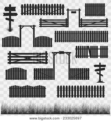 Set Of Black Silhouettes Of Wooden Fences With Gates And Guideposts. Vector Collection Of Illustrati