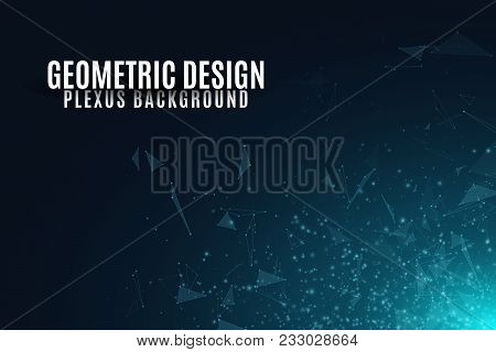 Abstract Background Of Flying Geometric Particles On A Dark Background. Connected Triangles And Lumi