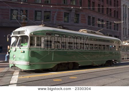Green traditional Trolley or tram in