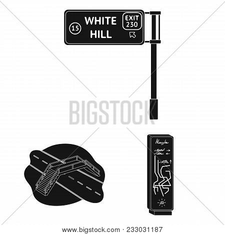 Road Junctions And Signs And Other  Icon In Black Style.pedestrian Crossings And Signs Icons In Set