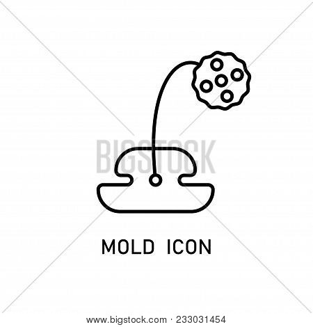 Mold Linear Icon Isolated On White Background. Stock Vector Illustration Of Fungi Growing On Food.