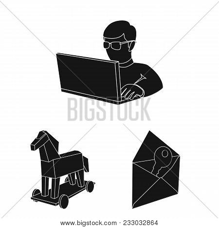 Hacker And Hacking Black Icons In Set Collection For Design. Hacker And Equipment Vector Symbol Stoc
