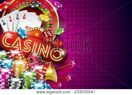 Casino Illustration With Roulette Wheel And Playing Chips On Violet Background. Vector Gambling Desi
