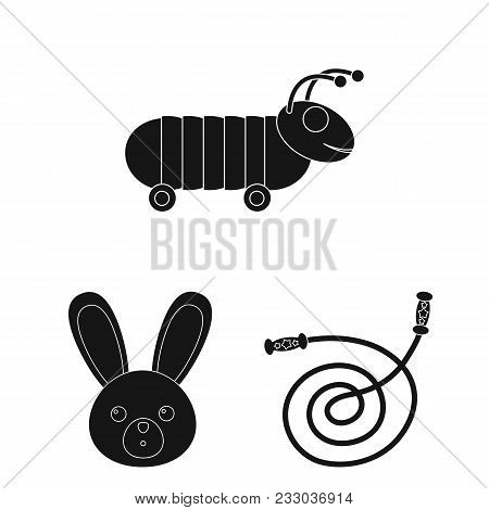 Children Toy Black Icons In Set Collection For Design. Game And Bauble Vector Symbol Stock Illustrat