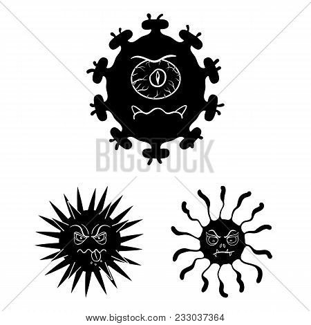 Types Of Funny Microbes Black Icons In Set Collection For Design. Microbes Pathogenic Vector Symbol