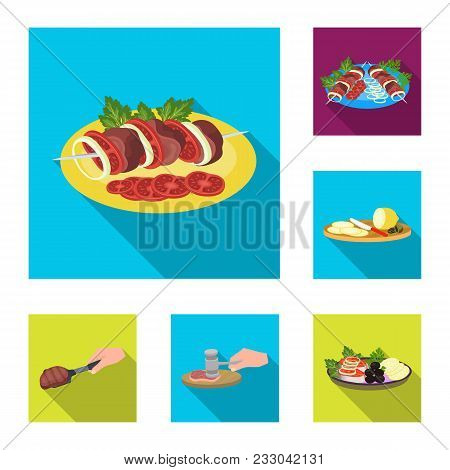 Cooking Food Flat Icons In Set Collection For Design. Kitchen, Equipment And Tools Vector Symbol Sto