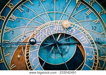 Prague Astronomical Clock, Close Up. Czech Gothic Architecture, Famous Medieval Astrological Clock.