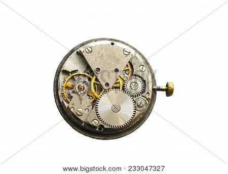 Close View Of Old Clock Mechanism With Gears And Cogs. Clockwork Old Mechanical. Close Up, Macro Sho