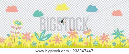 Spring Cute Green Vector Grass, Flowers And Clouds Seamless Border, Greeting Card With Season Elemen