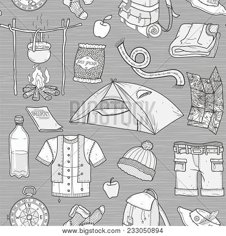 Tourism Background, Camping, Tourism Travel, Travel Background, Vector Seamless Pattern