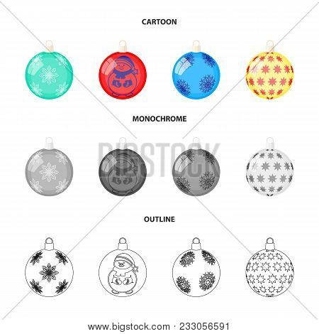 New Year Toys Cartoon, Outline, Monochrome Icons In Set Collection For Design.christmas Balls For A