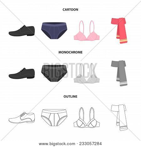Male Shoes, Bra, Panties, Scarf, Leather. Clothing Set Collection Icons In Cartoon, Outline, Monochr