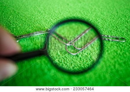 Research violations in the technology of the bloc chain. The chain is checked under the magnifying glass. poster
