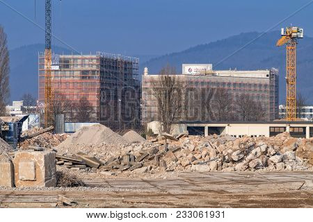 Heidelberg, Germany - March 03 2018: Demolition Site On Patton Barracks, The Area Formerly Used By T
