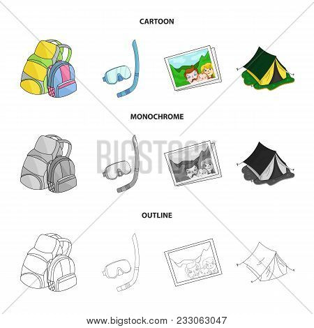 Travel, Vacation, Backpack, Luggage .family Holiday Set Collection Icons In Cartoon, Outline, Monoch