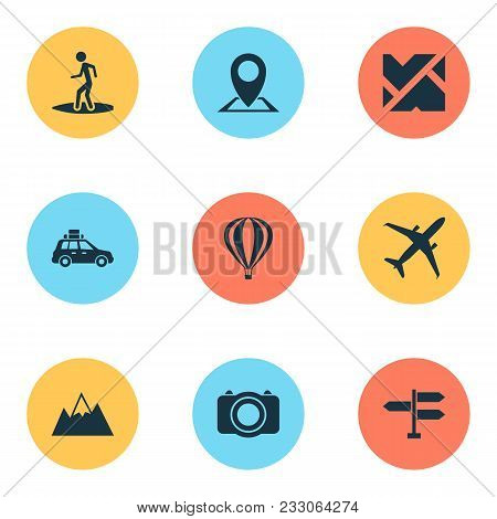 Exploration Icons Set With Signpost, Air Balloon, Airplane And Other Land Elements. Isolated Vector