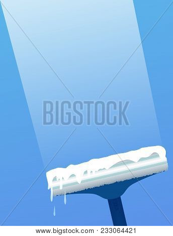 Glass Scraper For Washing Window. Window Cleaning. Vector Flat Illustration For Cleaning Service Con
