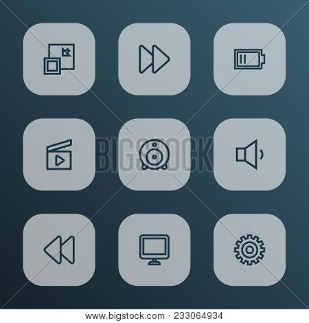 Media Icons Line Style Set With Web Cam, Fast Forward, Setting And Other Charge Elements. Isolated V