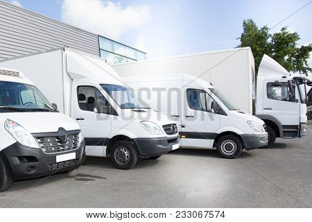 Commercial Delivery Vans Park In Transport Parking Place Of Transporting Carrier Shipping Service Co