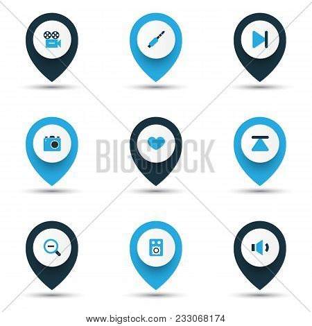 Multimedia Icons Colored Set With End, Camera, Zoom Out And Other Magnifying Elements. Isolated  Ill