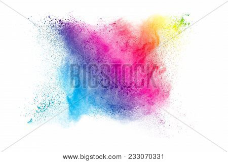 Abstract  Purple Powder Splatted On Black Background,freeze Motion Of Color Powder Exploding.
