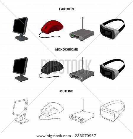 Monitor, Mouse And Other Equipment. Personal Computer Set Collection Icons In Cartoon, Outline, Mono
