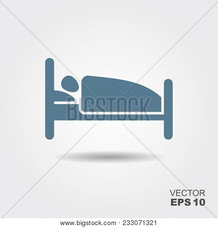 Person In Bed. Hotel Flat Icon. Sleeping Shelter Sign