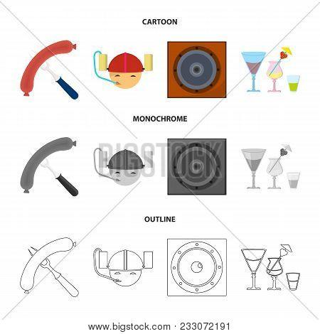 Fried Sausage, Beer Helmet, Cocktails, Speaker.pub Set Collection Icons In Cartoon, Outline, Monochr