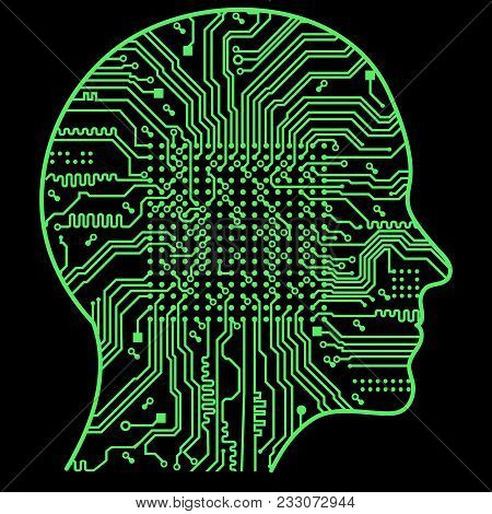Artificial Intelligence. The Image Of Human Head Outlines, Inside Of Which There Is An Abstract Circ