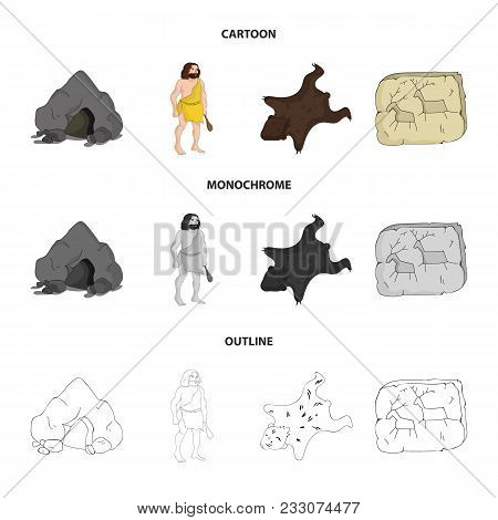 Ancient, World, Stone Age .stone Age Set Collection Icons In Cartoon, Outline, Monochrome Style Vect