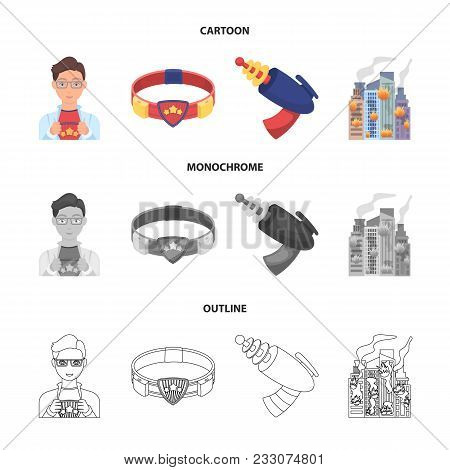 Man, Young, Glasses, And Other  Icon In Cartoon, Outline, Monochrome Style. Superman, Belt Gun Icons