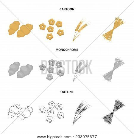 Different Types Of Pasta. Types Of Pasta Set Collection Icons In Cartoon, Outline, Monochrome Style