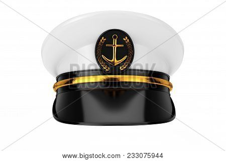 Naval Officer, Admiral, Navy Ship Captain Hat on a white background. 3d Rendering poster