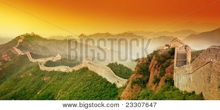 Great Wall of China at Sunrise.