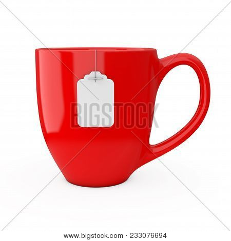 Red Cup Of Tea With Blank White Tea Bag Label Mockup On A White Background. 3d Rendering