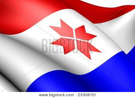 Republic of Mordovia flag close up. Front view. poster